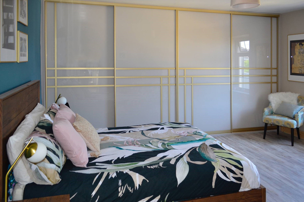 A beautiful modern art deco sliding wardrobe