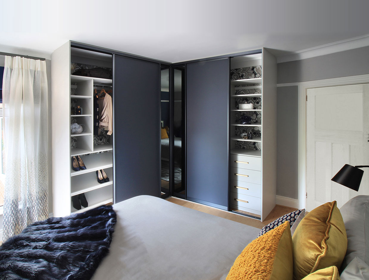 Contemporary Corner Wardrobe Open