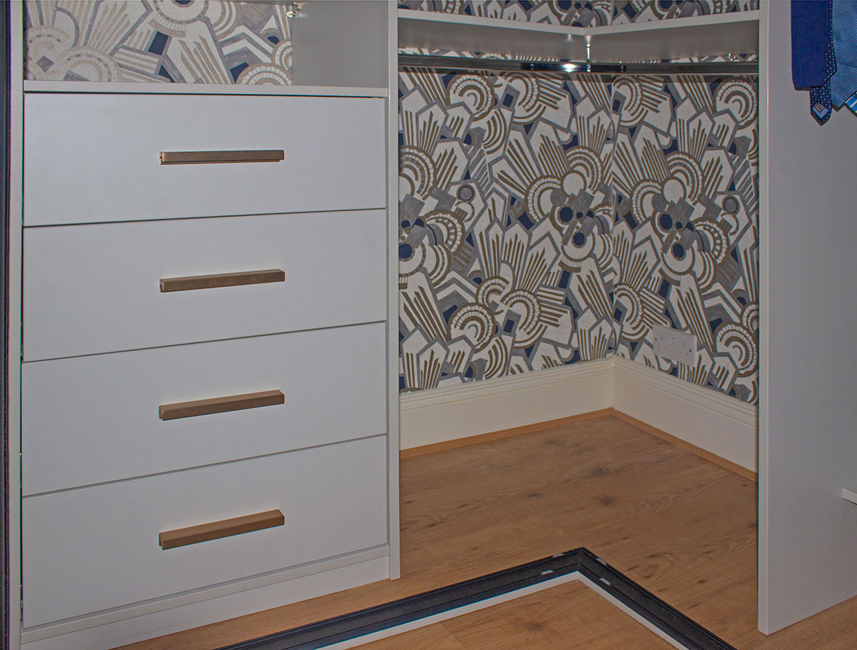 Contemporary Corner Wardrobe Soft Close Drawers