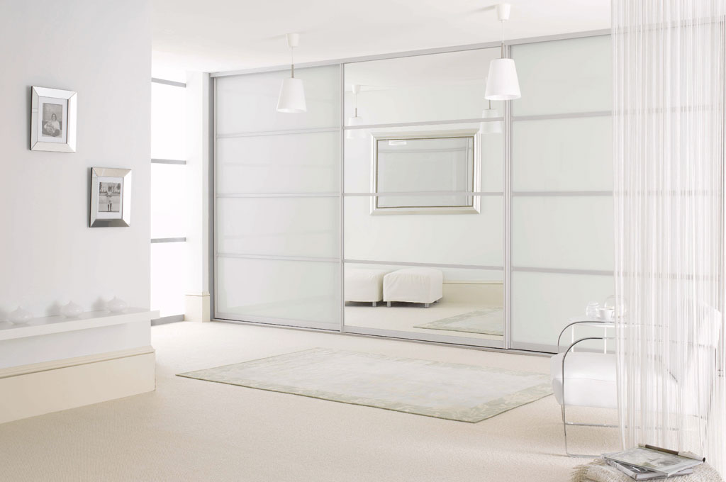 three door white glass and mirror sliding door wardrobe