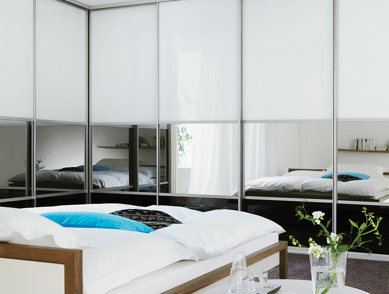 White Glass, Black Glass & Mirror, Fitted Bedroom Wardrobe