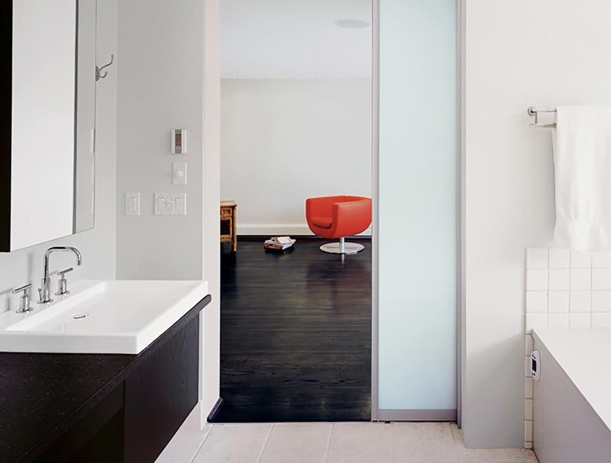 Living Spaces Frosted Glass Sliding Divide