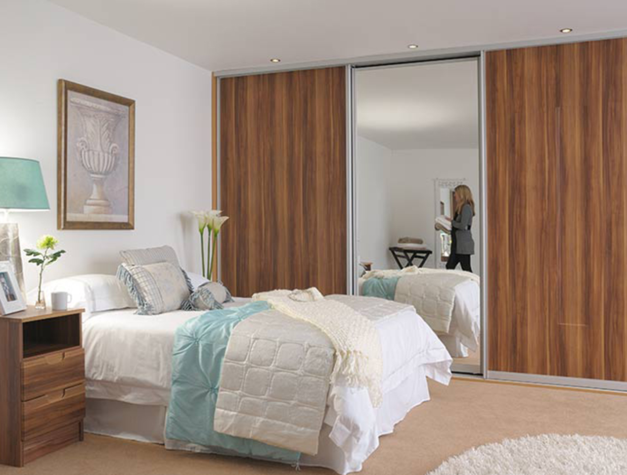 Plum Wood & Mirror, Fitted Bedroom Wardrobe and Matching Bedside Lockers