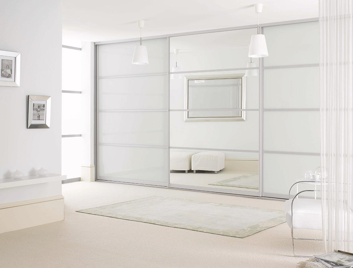 White Glass & Mirror, Fitted Bedroom Wardrobe