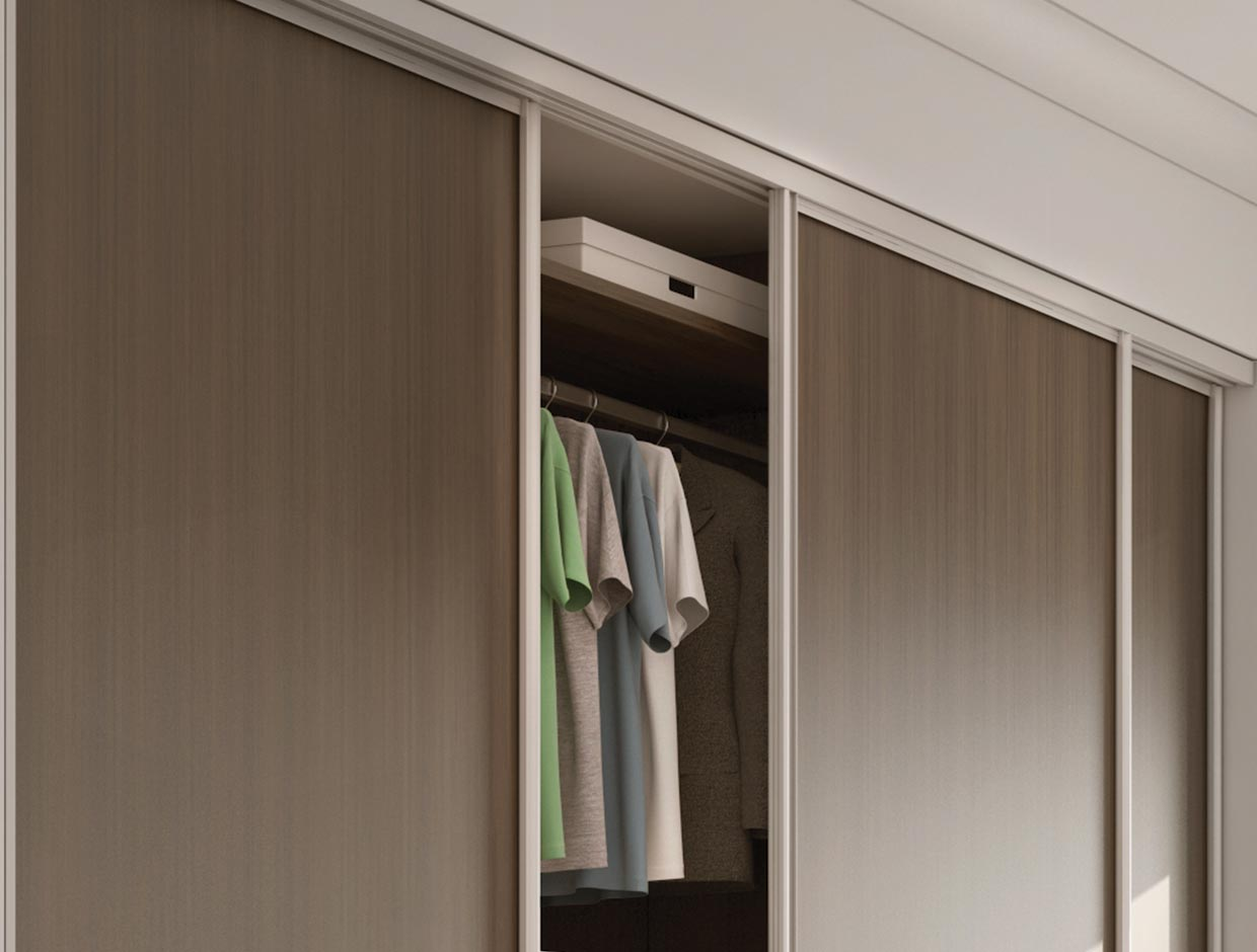 Walnut Panels & Charcoal Dado, Fitted Bedroom Wardrobe Door Open