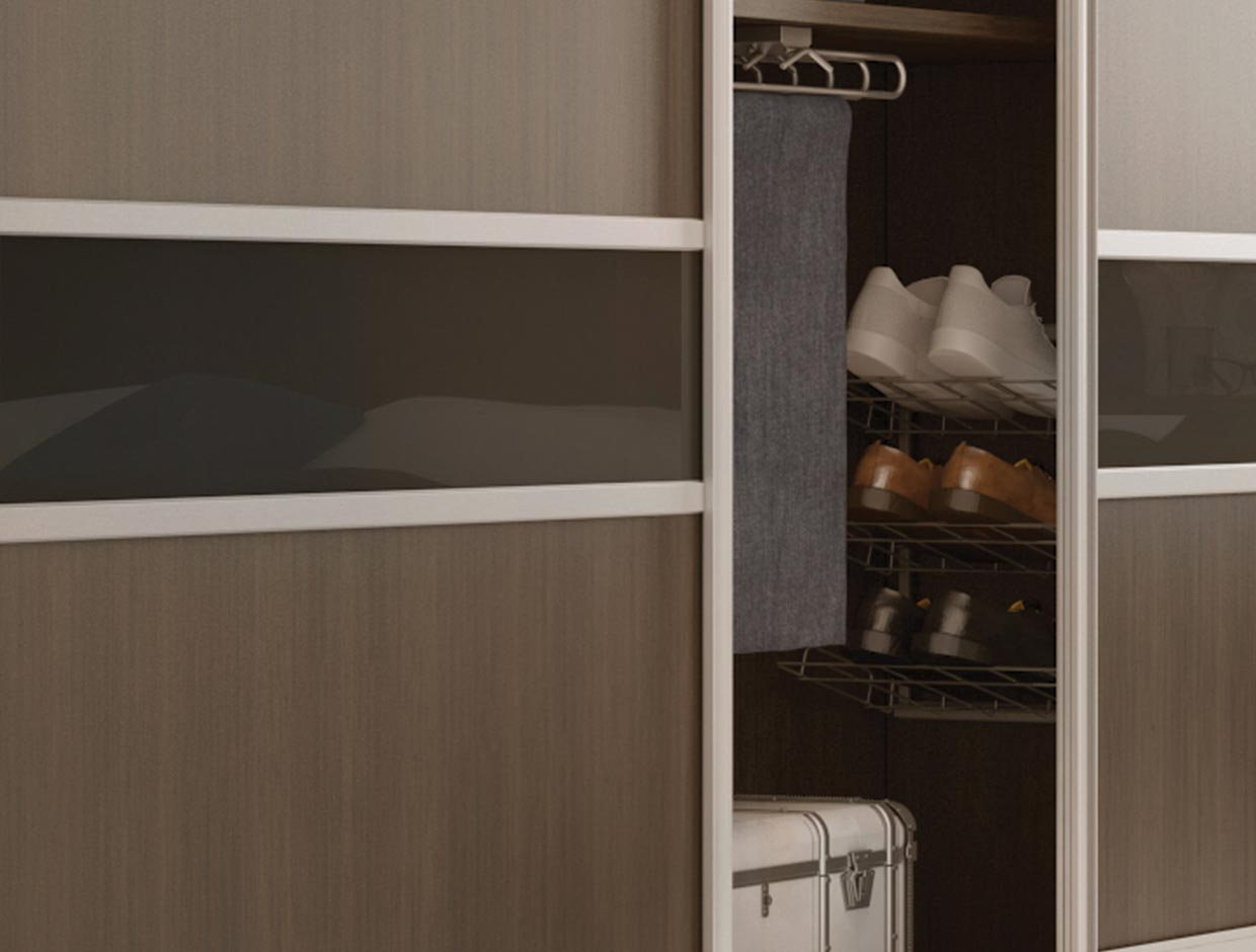 Walnut Panels & Charcoal Dado, Wardrobe Interior