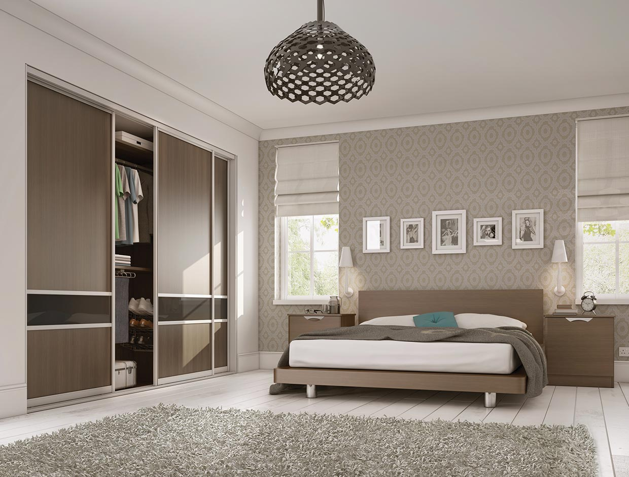 Walnut Panels & Charcoal Dado, Fitted Bedroom Wardrobe
