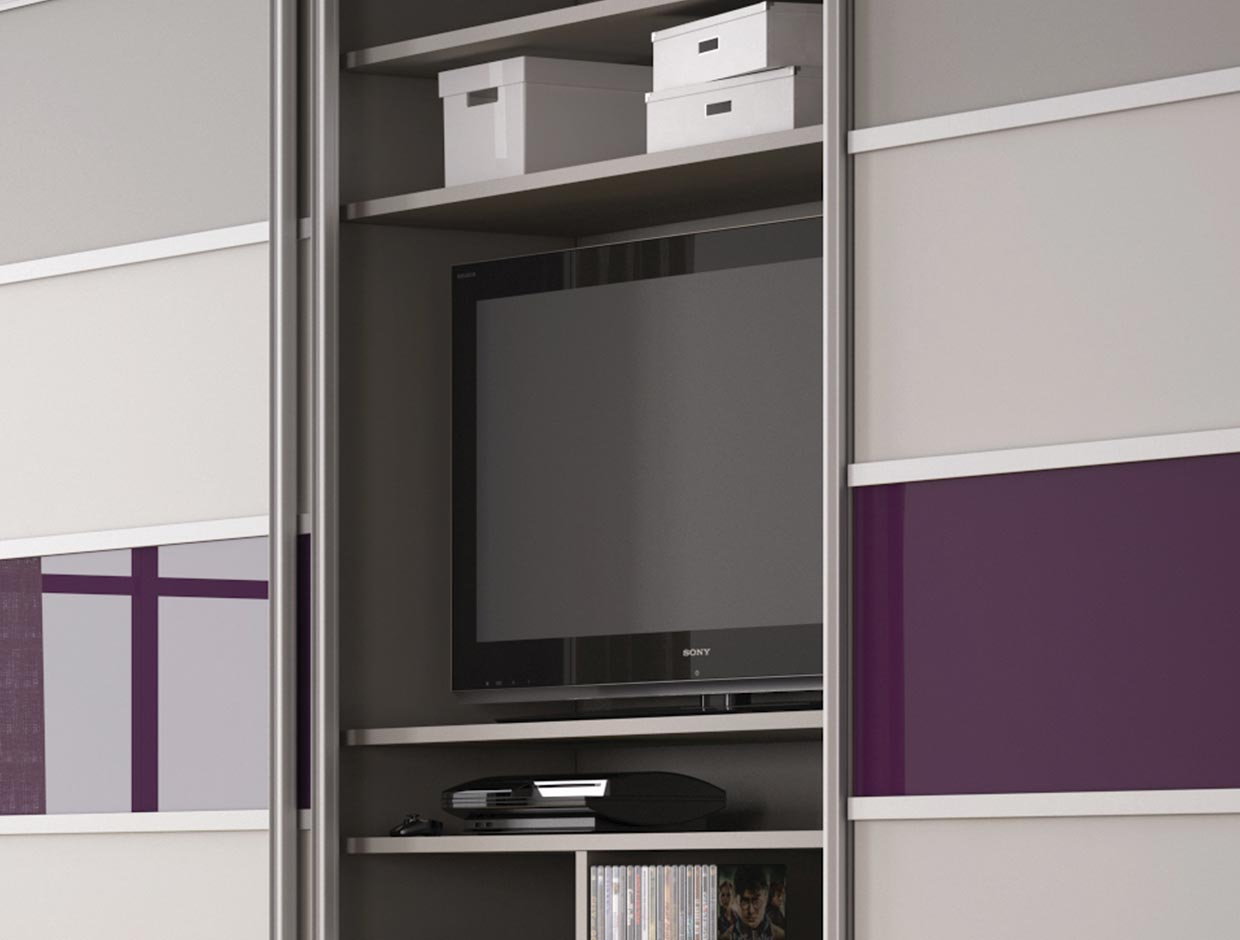 Stone Grey, Mussel & Aubergine TV and Storage Unit