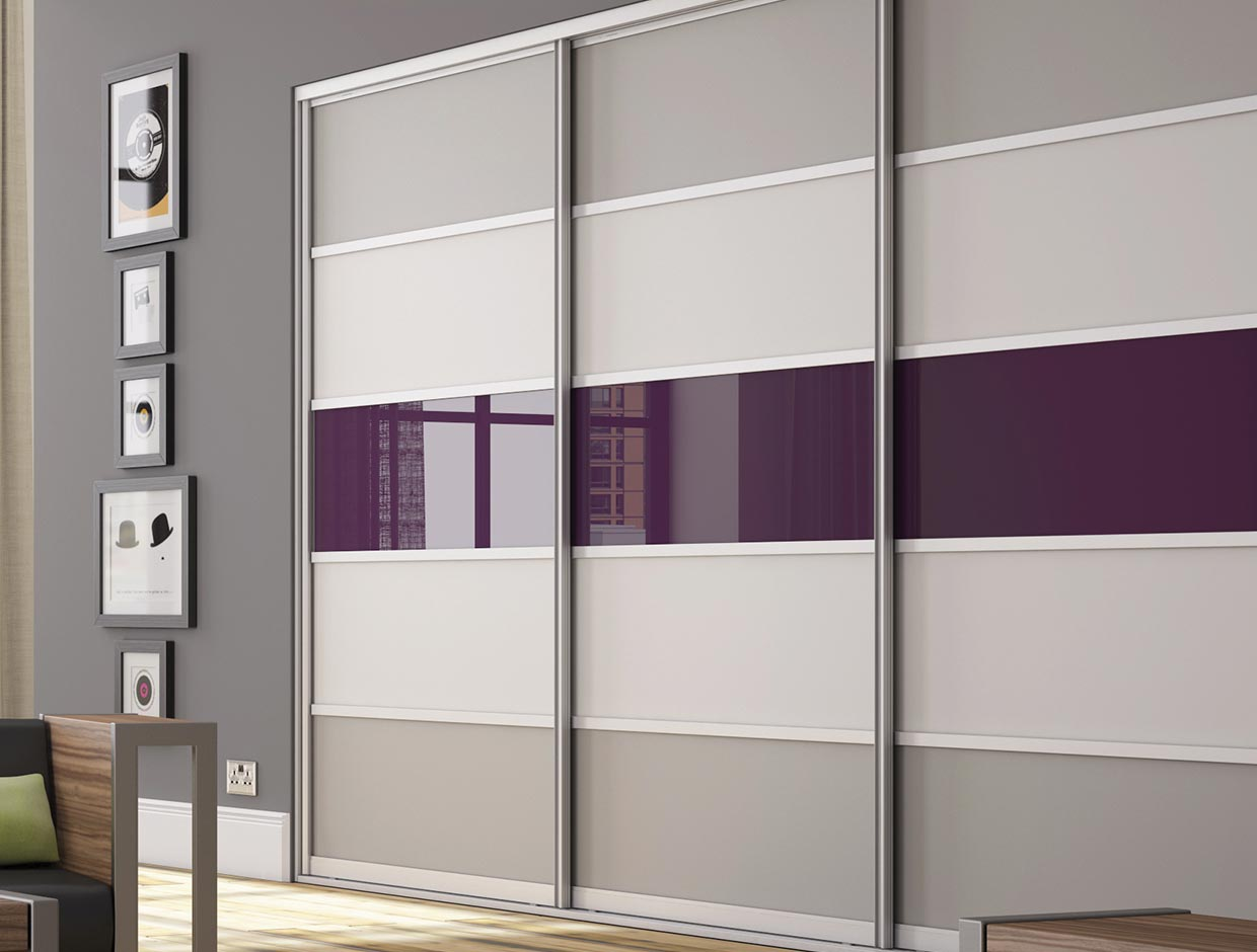 Stone Grey, Mussel & Aubergine Wardrobe with Sliding Doors