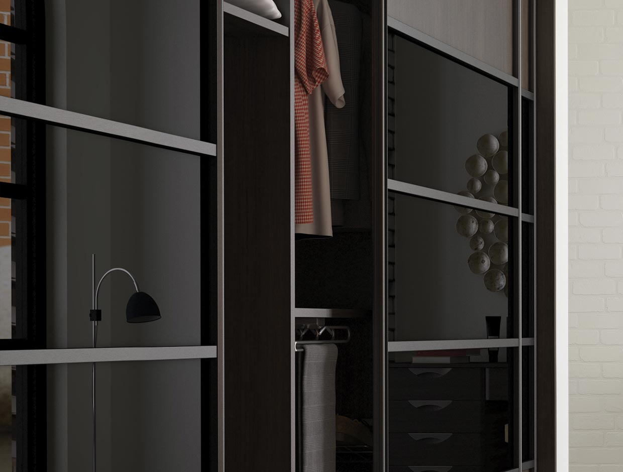 Walnut Wood & Black Glass Bedroom Wardrobe Interior