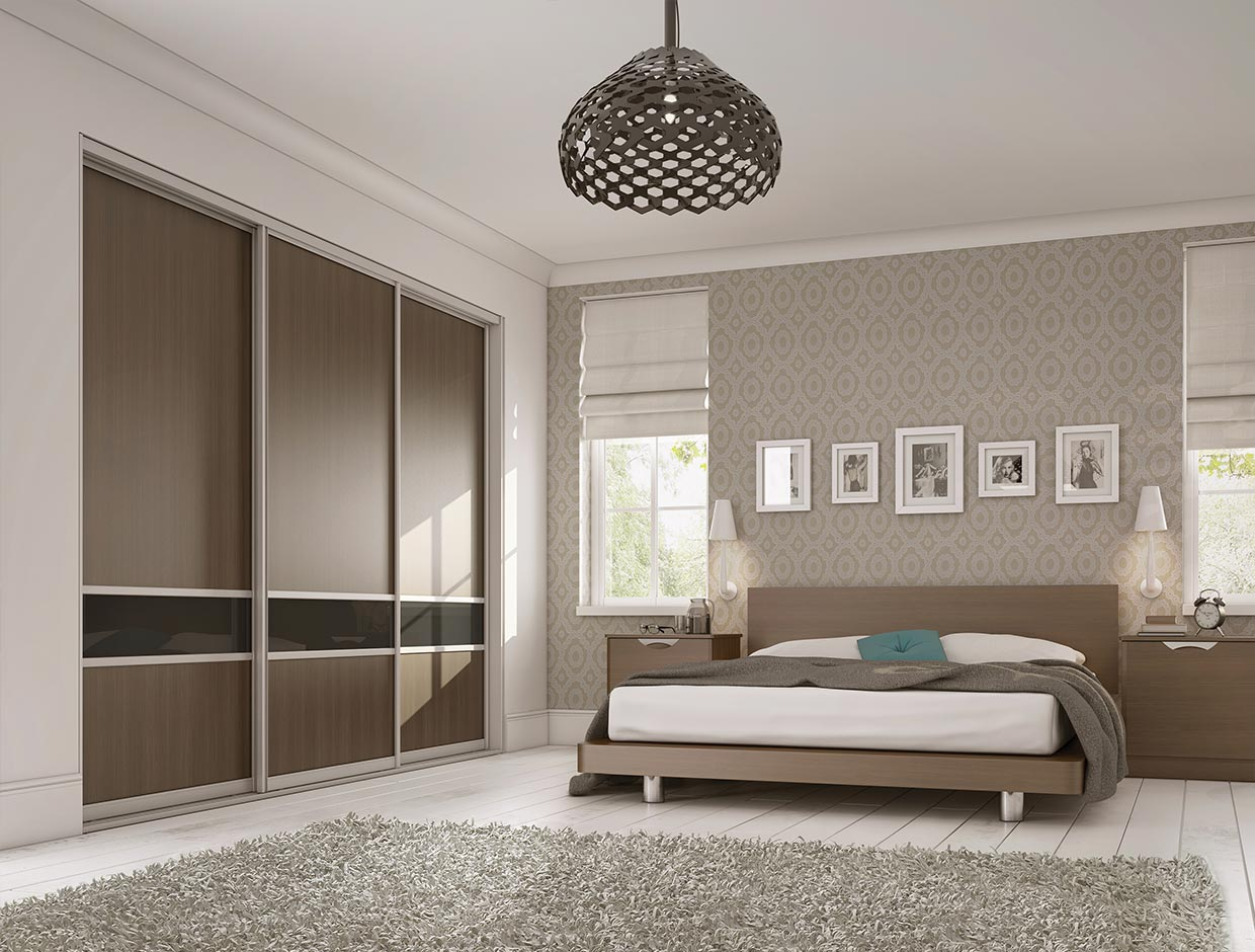 Walnut Panels & Charcoal Dado, Fitted Bedroom Wardrob
