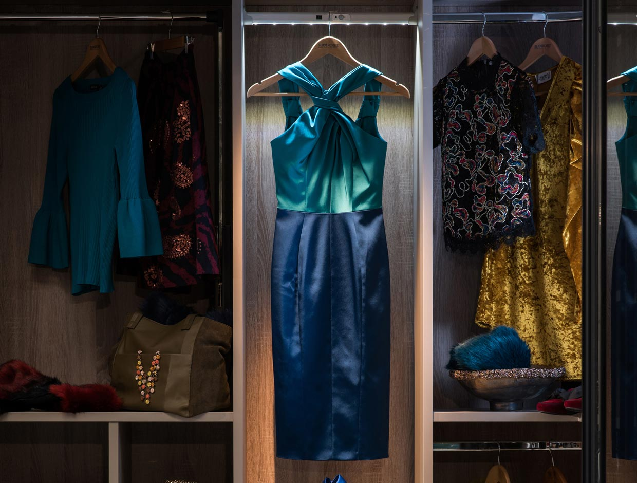 Dark and Stormy Dress Shot Wardrobe Interior