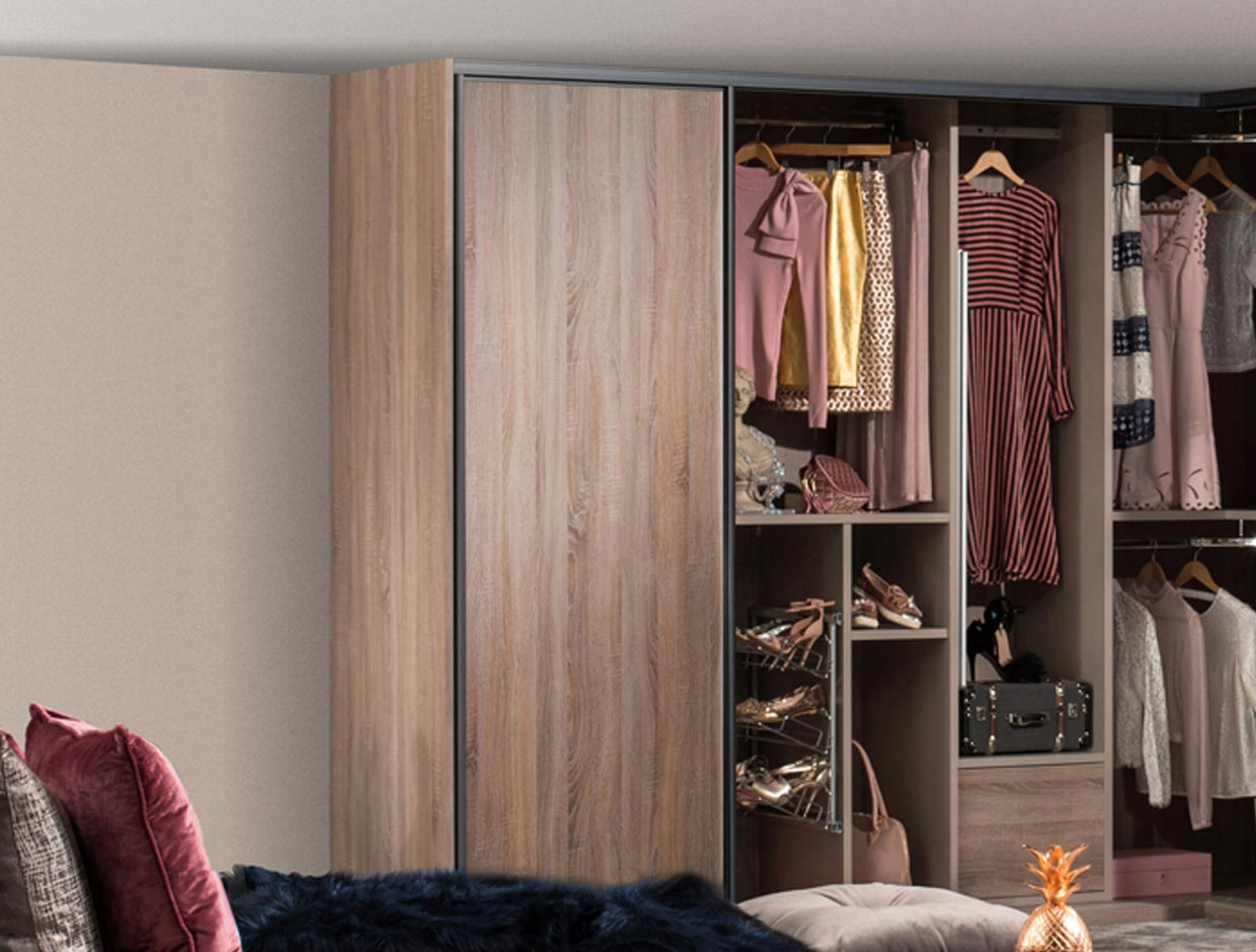 Fitted Corner Wardrobes Wood Doors