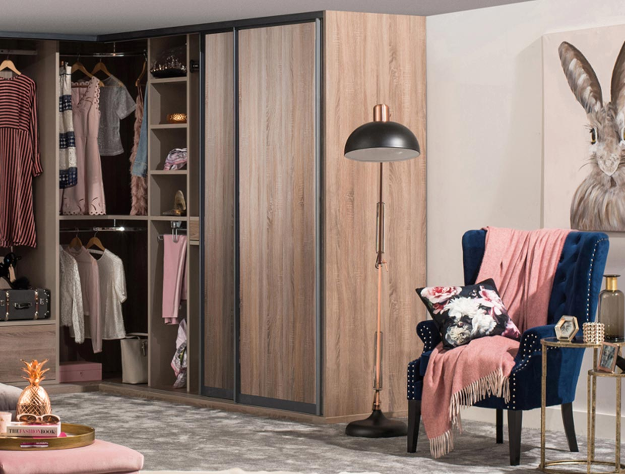 Fitted Corner Wardrobe Wood Doors Open