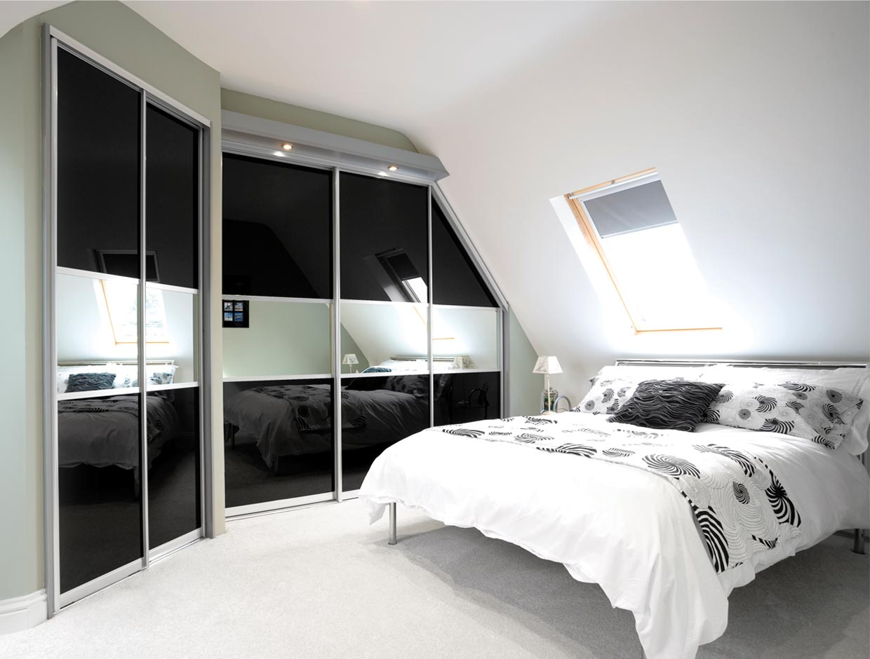 Black Glass Ensuite Room Divider Wide View