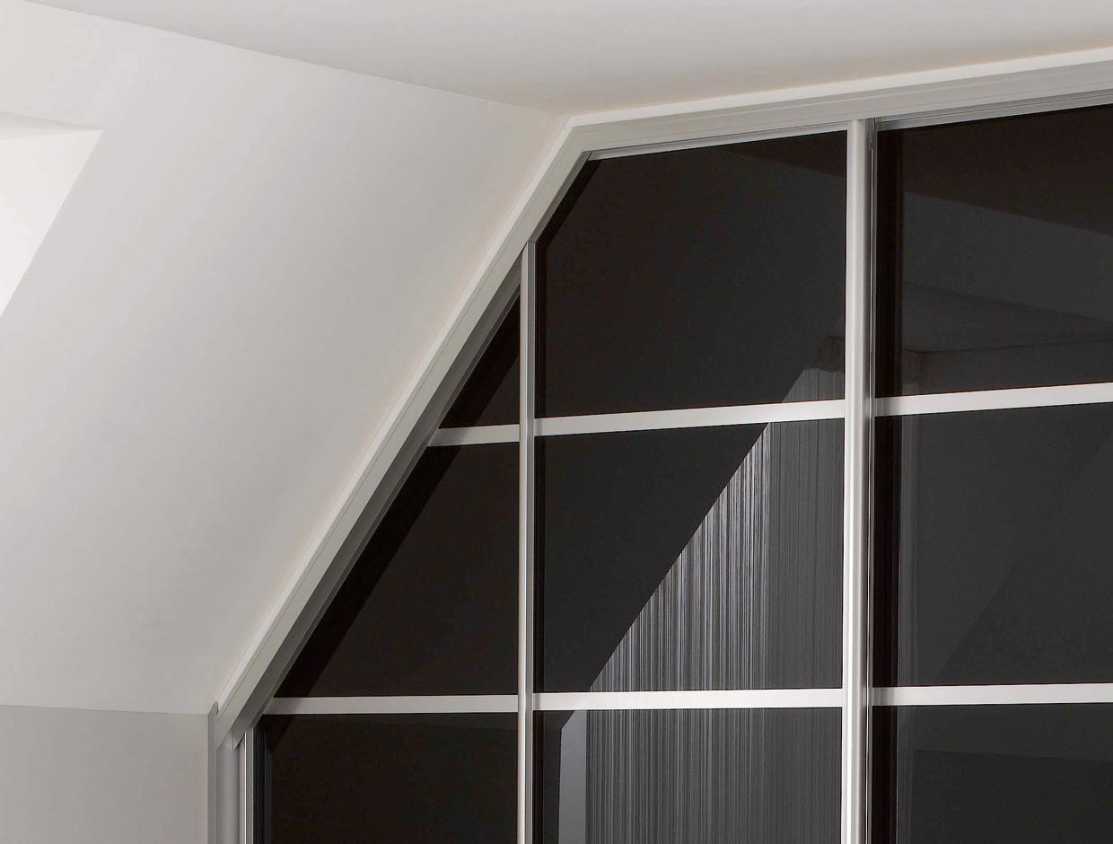 Black Glass Angled Fitted Wardrobe