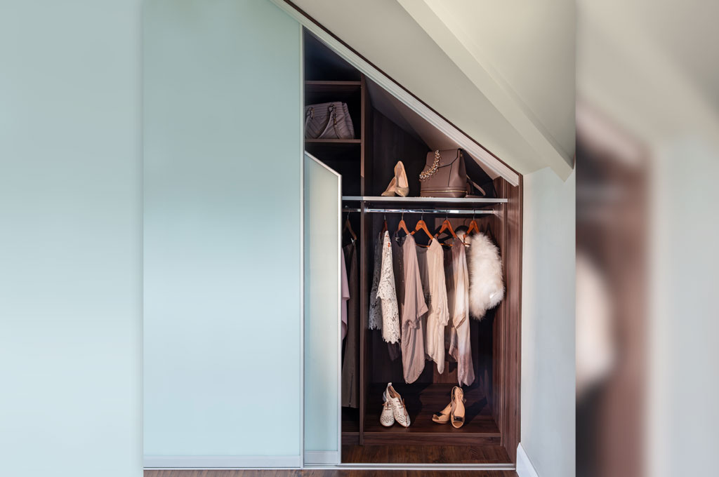 Double Angle Wardrobe Dark Wood Interior