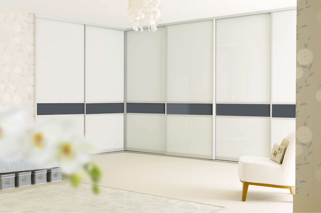 Sliderobes White Glass Corner Wardrobe