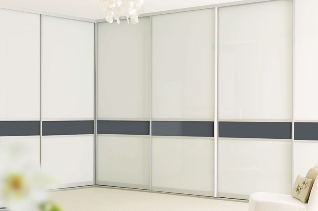 Sliderobes White Glass Corner Wardrobe Close Up