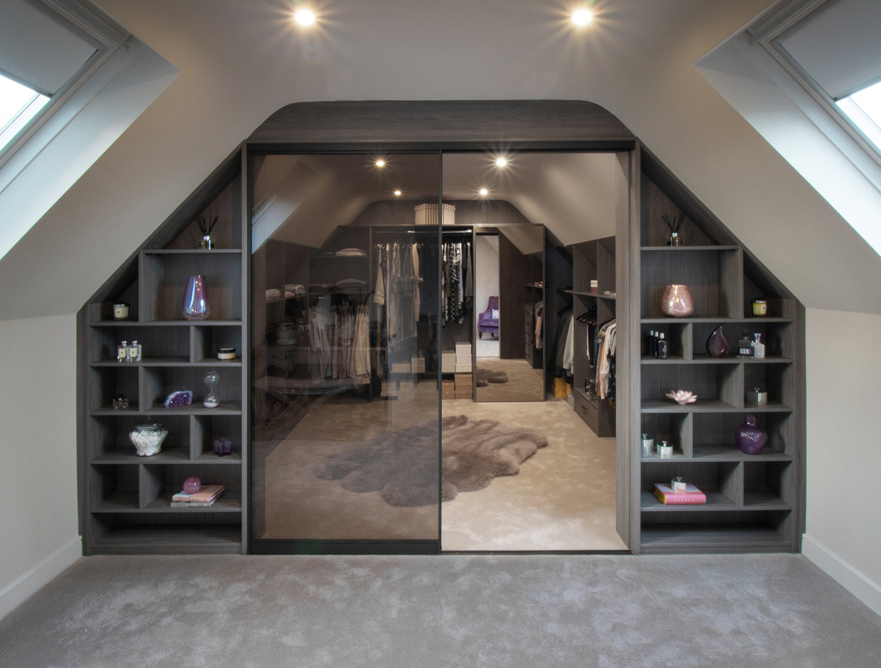 Smoked Glass Luxury Walk In Wardrobe