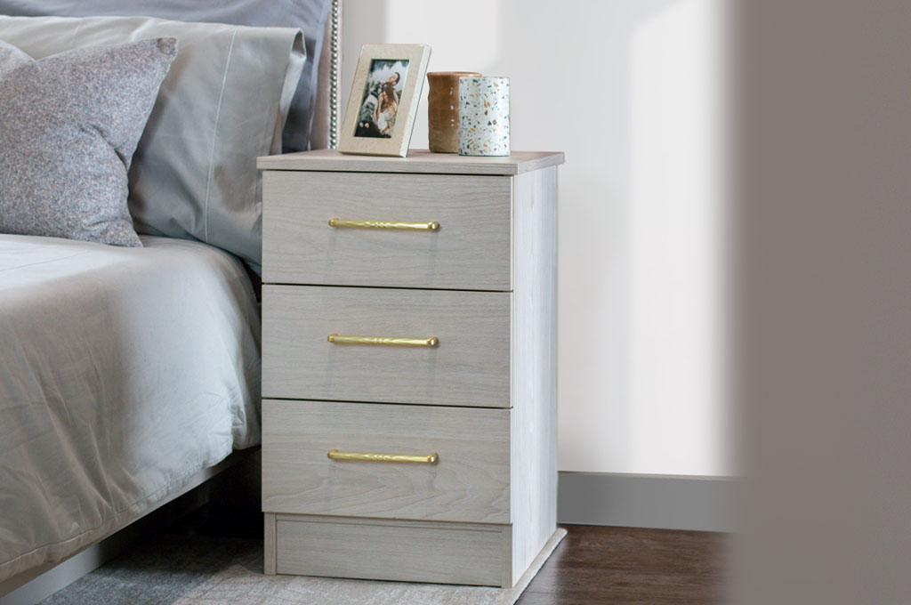 woodgrain bedside table gold handles